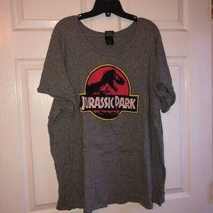 Torrid 4x Jurassic park logo destructed gray tee